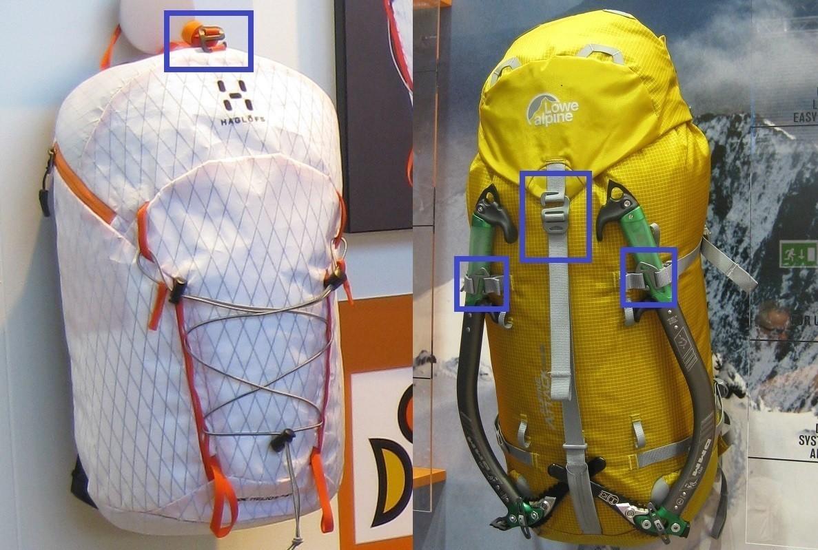 G-hooks on Haglöfs and Lowe Alpine Backpacks